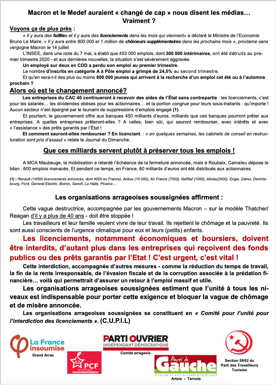 """Comité arrageois pour l'unité pour l'interdiction des licenciements"""""""