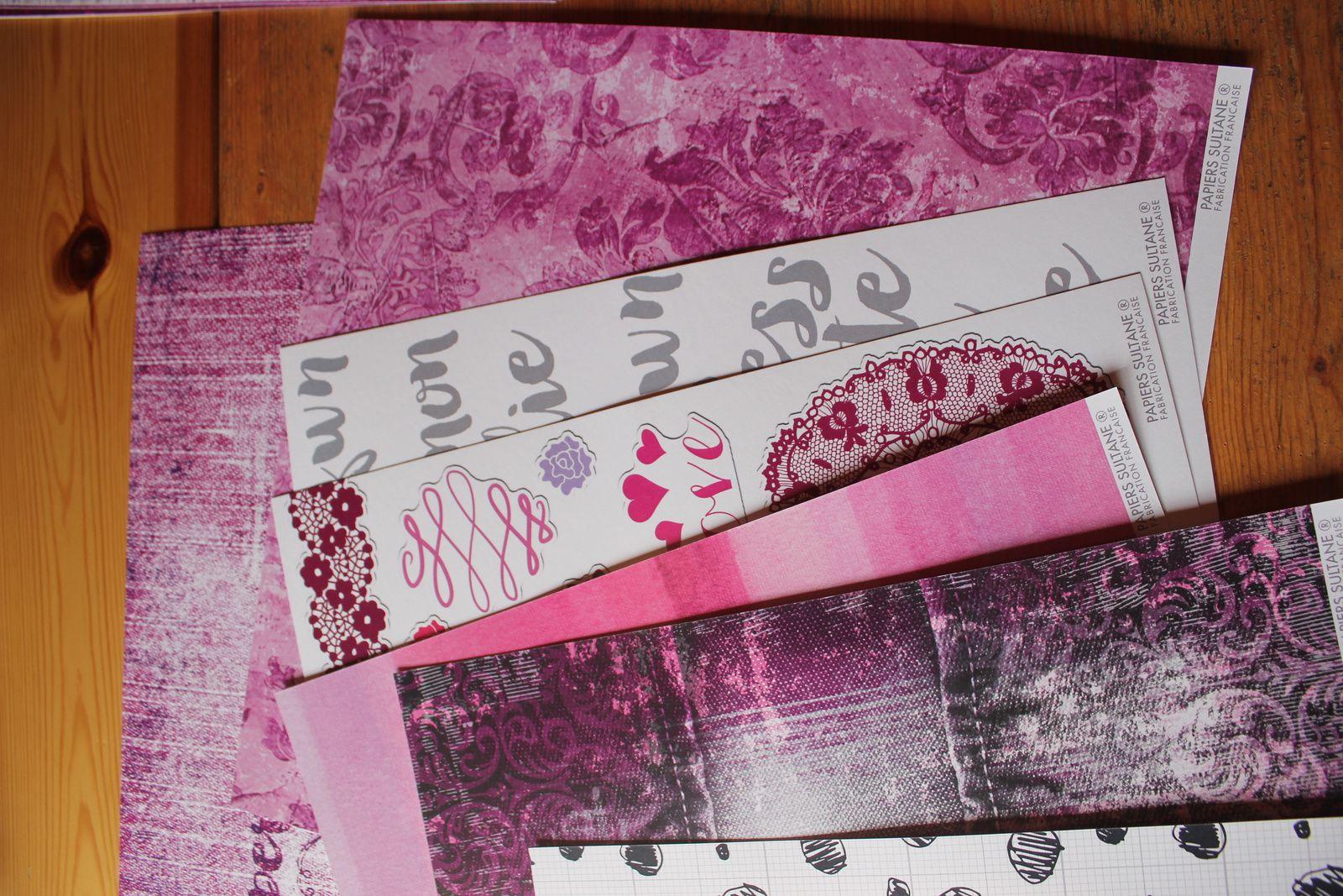 la superbe collection de papiers Mignonne, qui comme chaque set comprend 4 feuilles de papiers 30*30 et 4 feuilles en 12*30, le tout en 2 ex