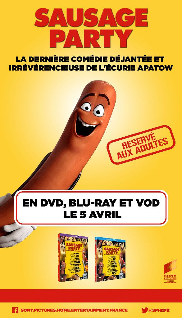 SAUSAGE PARTY disponible en DVD, BLU-RAY et VOD le 5 avril 2017 chez Sony Pictures Home Entertainment