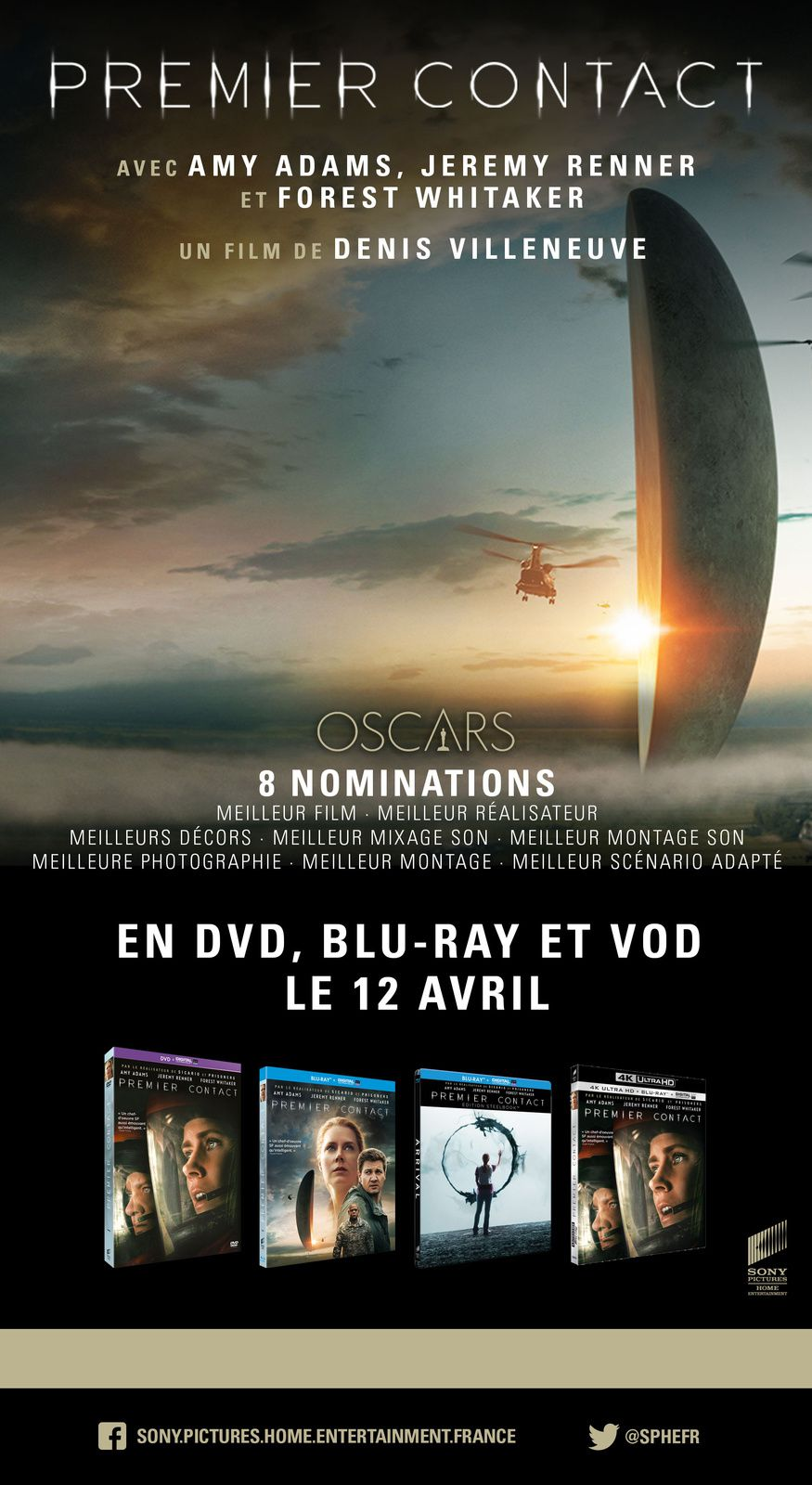 PREMIER CONTACT en DVD, BLU-RAY et VOD le 12 avril 2017 chez Sony Pictures Home Entertainment