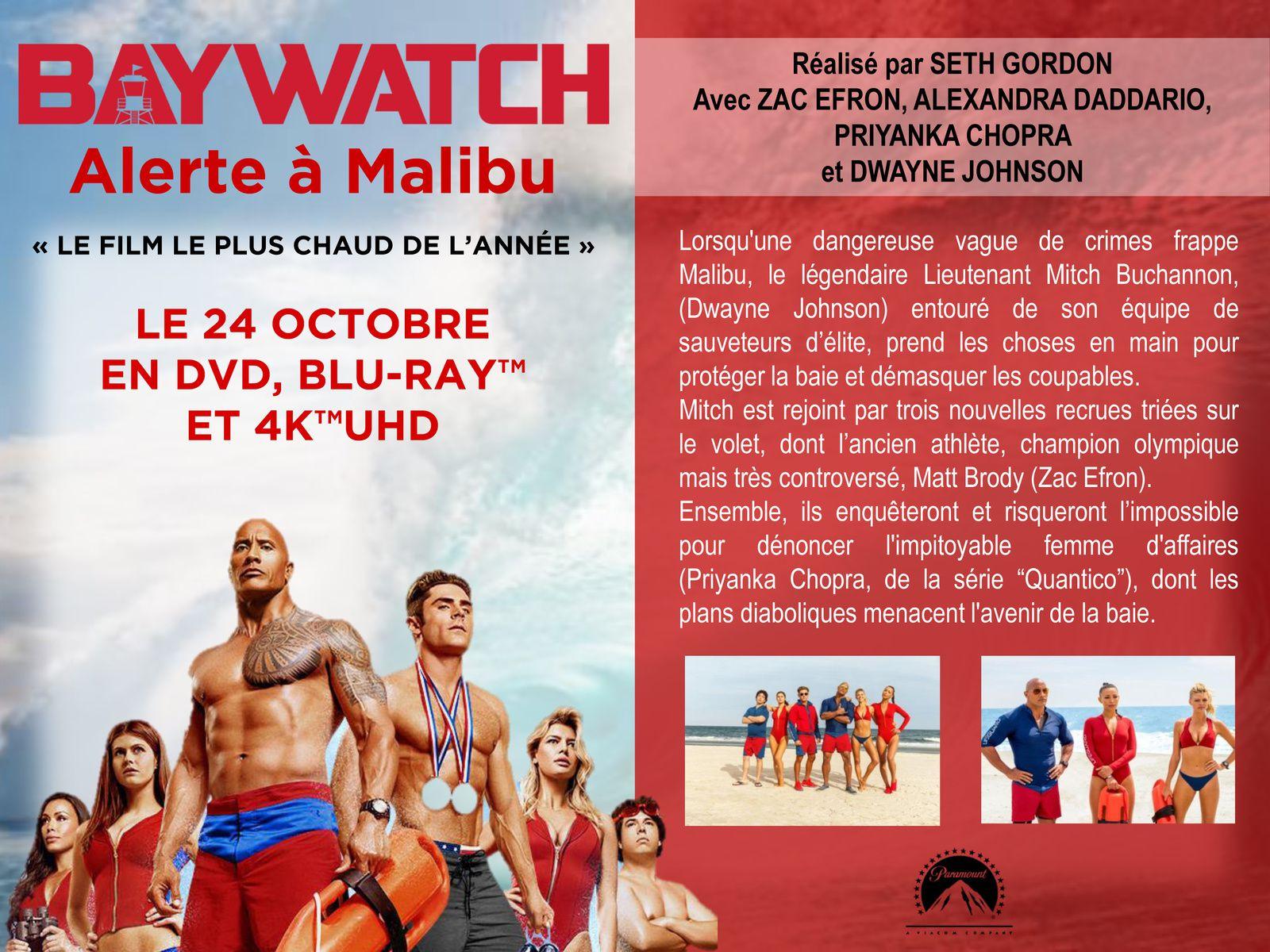 BAYWATCH - ALERTE A MALIBU, en DVD, Blu-ray™, Blu-ray™ 4K UHD le 14 octobre chez Universal Pictures Vidéo