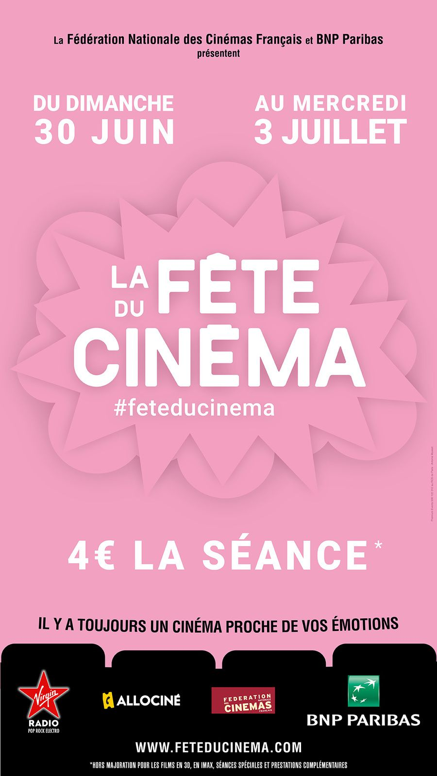 La Fête du Cinéma 2019 du dimanche 30 juin au mercredi 3 juillet 2019 inclus. 4 Euros la séance.