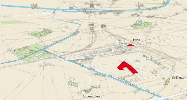 Campus Condorcet : plan de localisation des deux sites universitaires d'Aubervilliers et de Paris 18e
