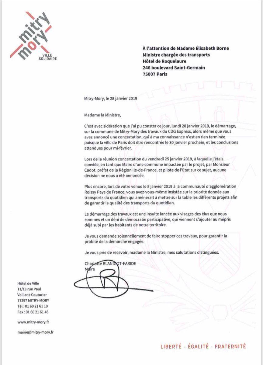 CDG Express : lettre de la Maire de Mitry-Mory à la Ministre des transports E.Borne - 28 janvier 2019