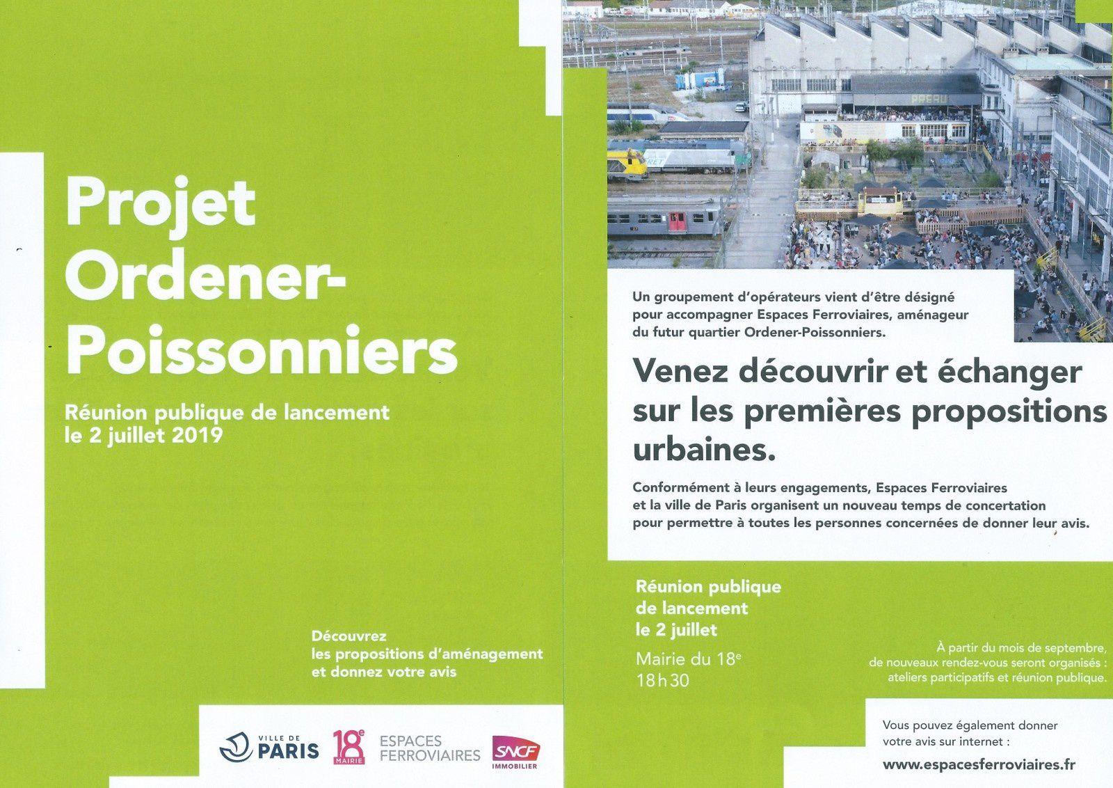 Ordener-Poissonniers : flyer réunion publique de lancement de la concertation du 2 juillet 2019