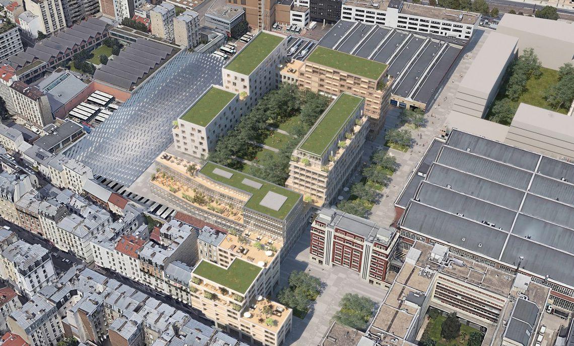 """Vue d'ensemble du projet urbain """"Belliard"""" - Visuel Marc Mimram Architecture & Ingénierie / Atelier JBMN."""
