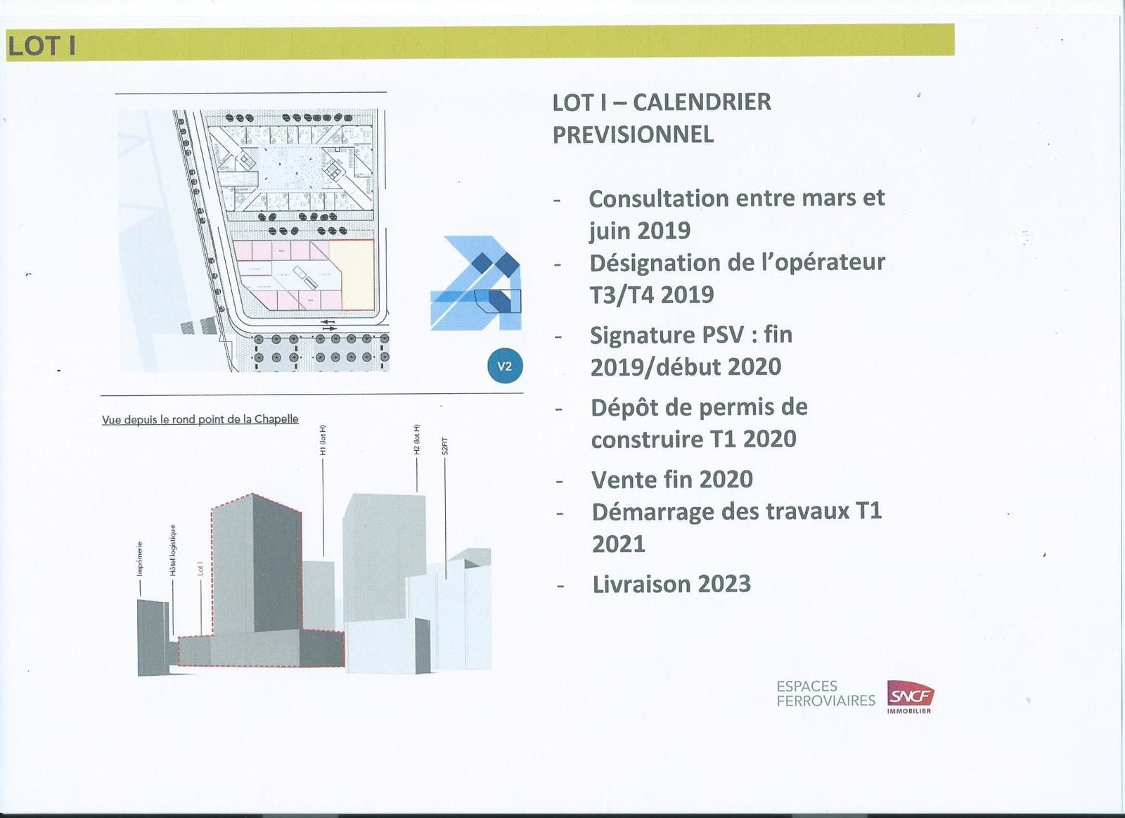Chapelle International : calendrier de mise en oeuvre du lot I  -  Document Espaces Ferroviaires.