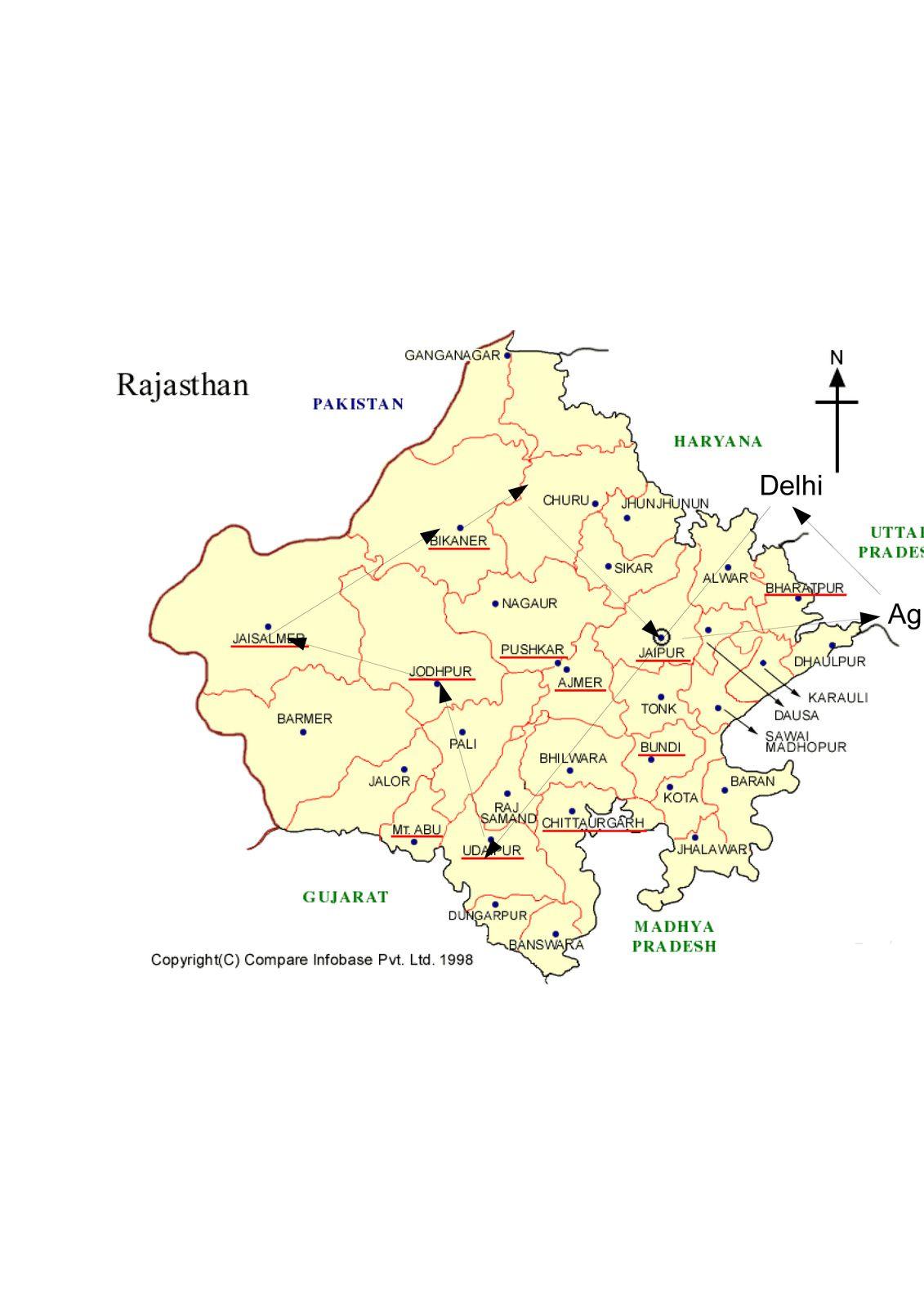Mon voyage au Radjasthan ( avec Delhi et Agra) : carte