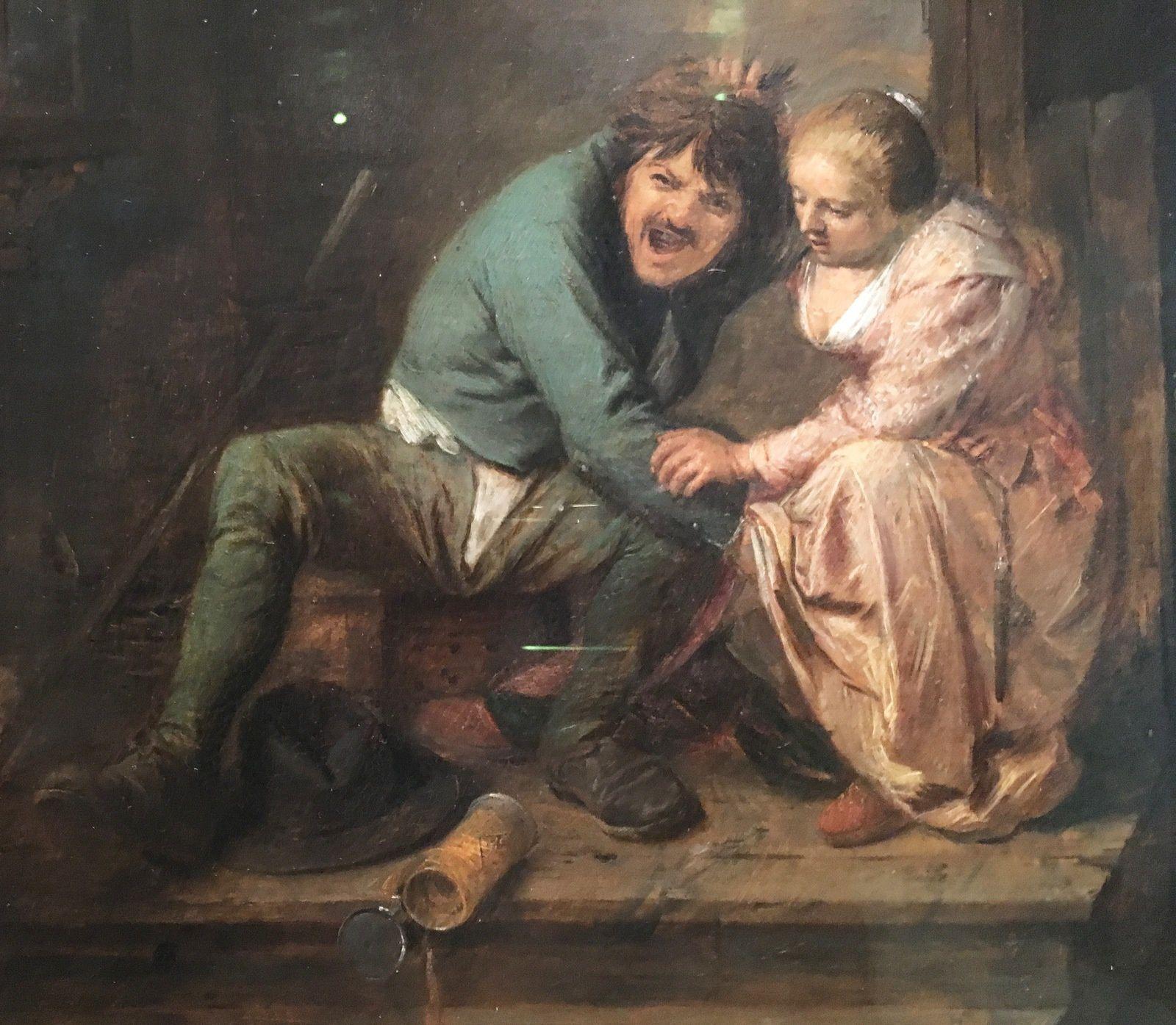 Scène à la taverne (détail) de Adriaen Brouwver.