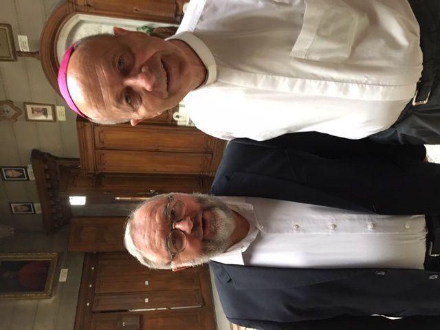 Mgr Michel Dubost et Jean François Duchamp à Fourvière 15 août 2019