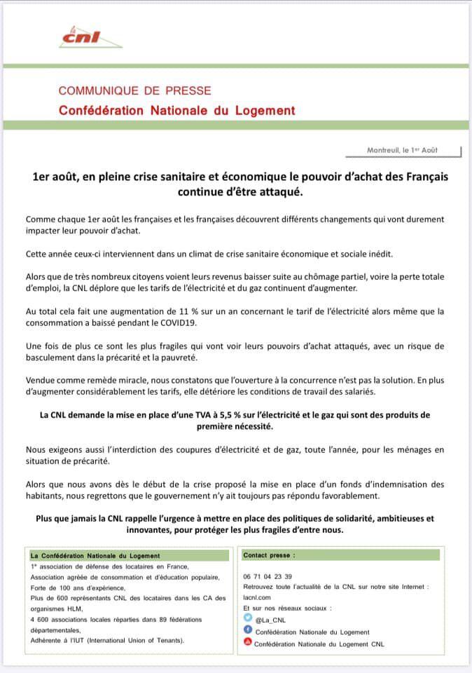 AUGMENTATION: Communiqué CNL
