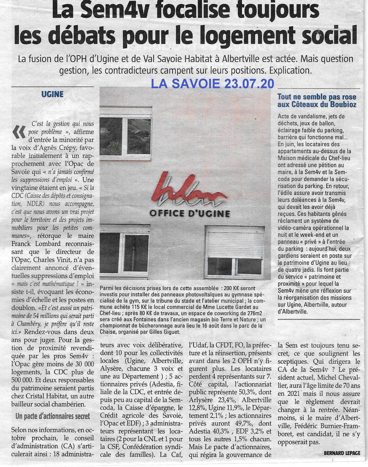 ARTICLE DE LA SAVOIE