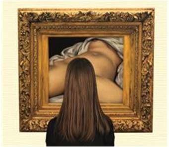 Mireille devant l'origine du monde pongiste (Gustave Courbet 1866)