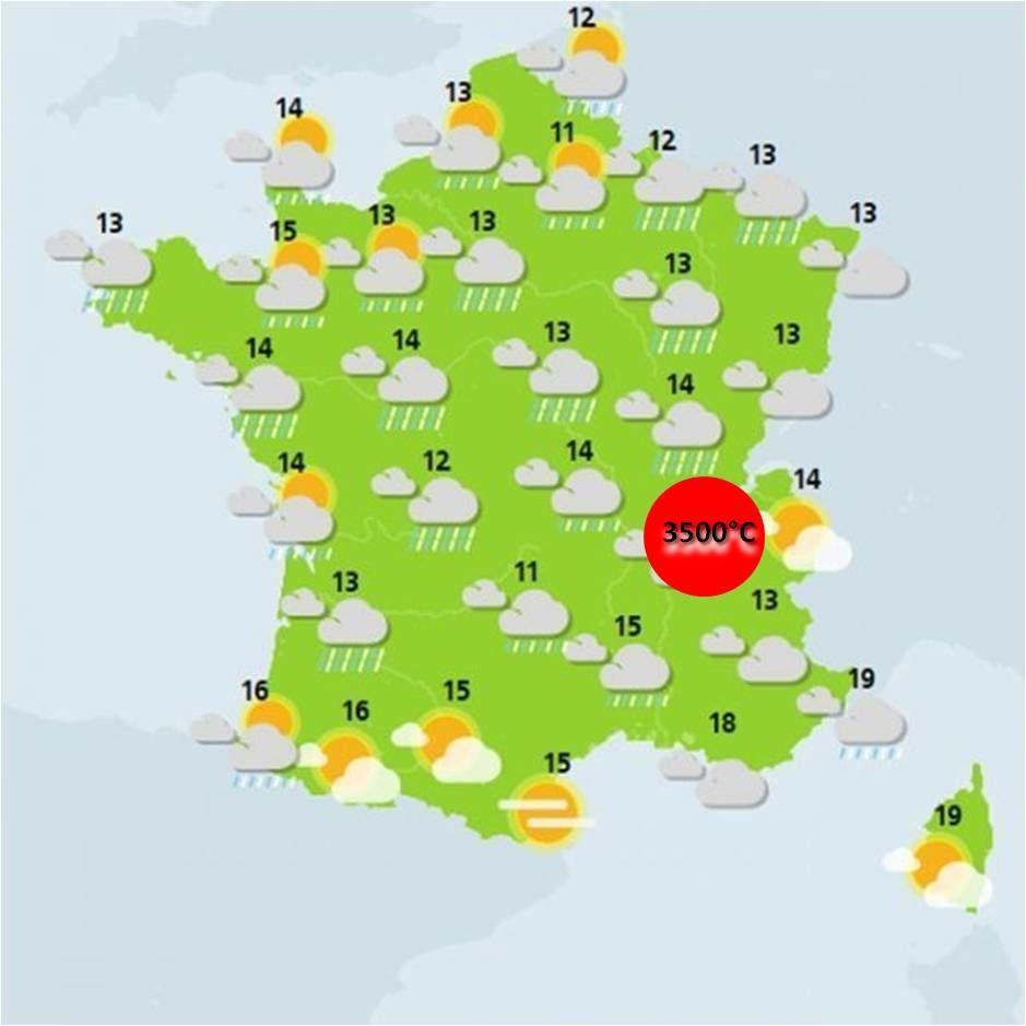 La carte de France des températures, du 24 au 26 mai 2019