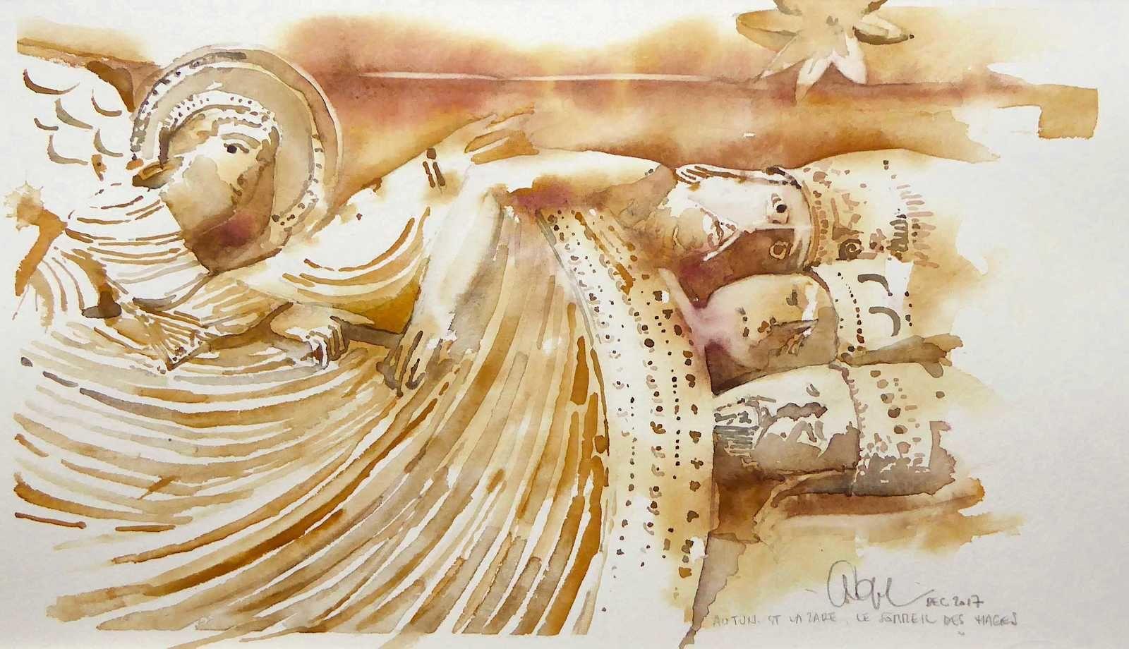 L'ange apparaît aux rois mages endormis... d'après une sculpture romane. Bonne fête de Noël à tous!