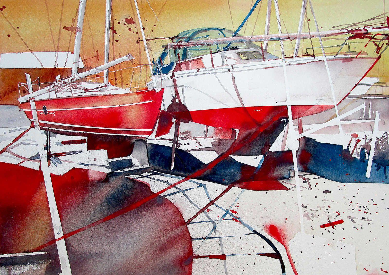 Baie de Somme, Saint-Valery-Canal, bateaux rouges.