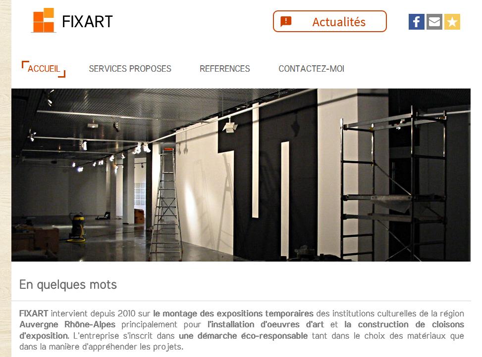 Screenshot du site internet de FIXART