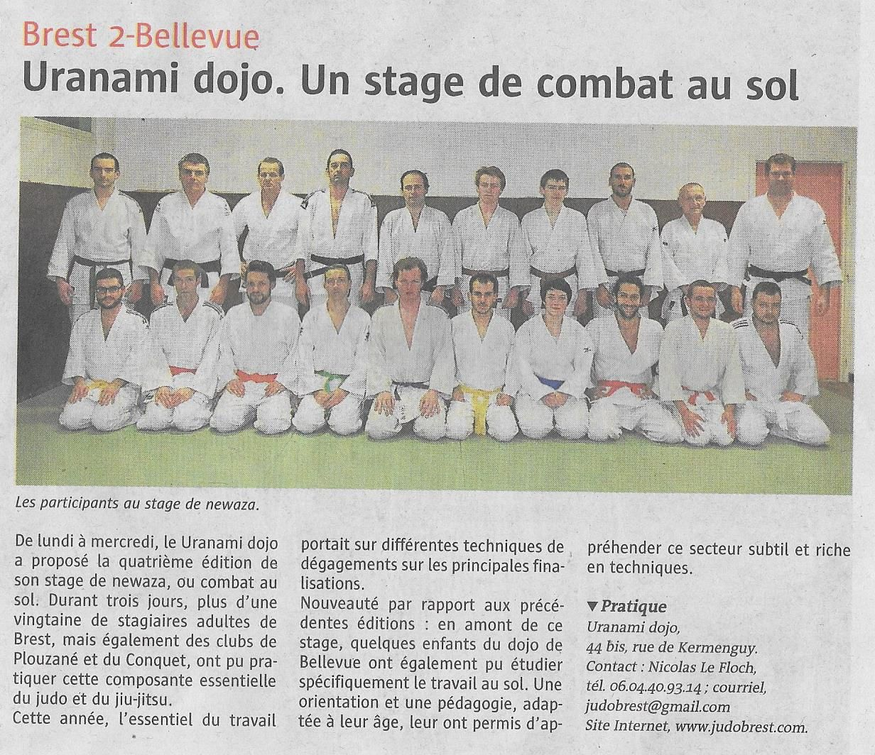 Stage Newaza 2017 : Article de presse :