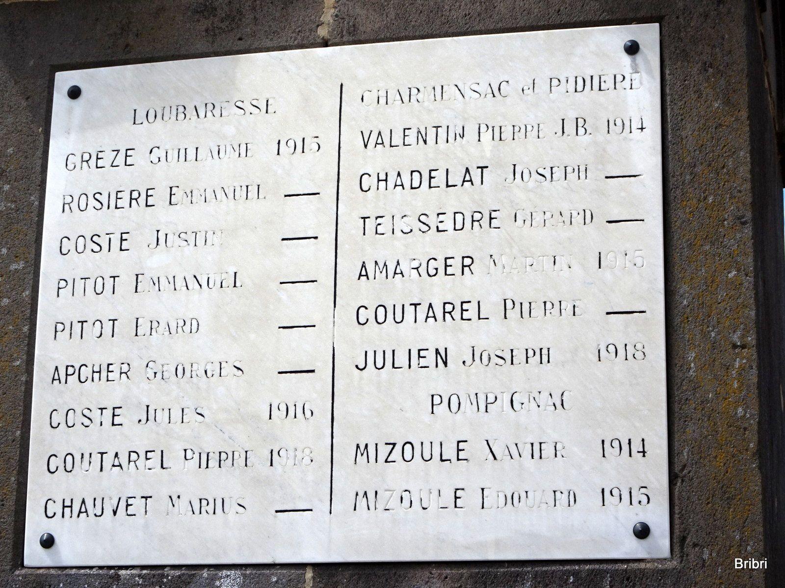 Sur le monument au morts nous retrouvons un nom connu dans notre village, je sais qu'ils avaient de la famille à St Flour, peut-être ici aussi.