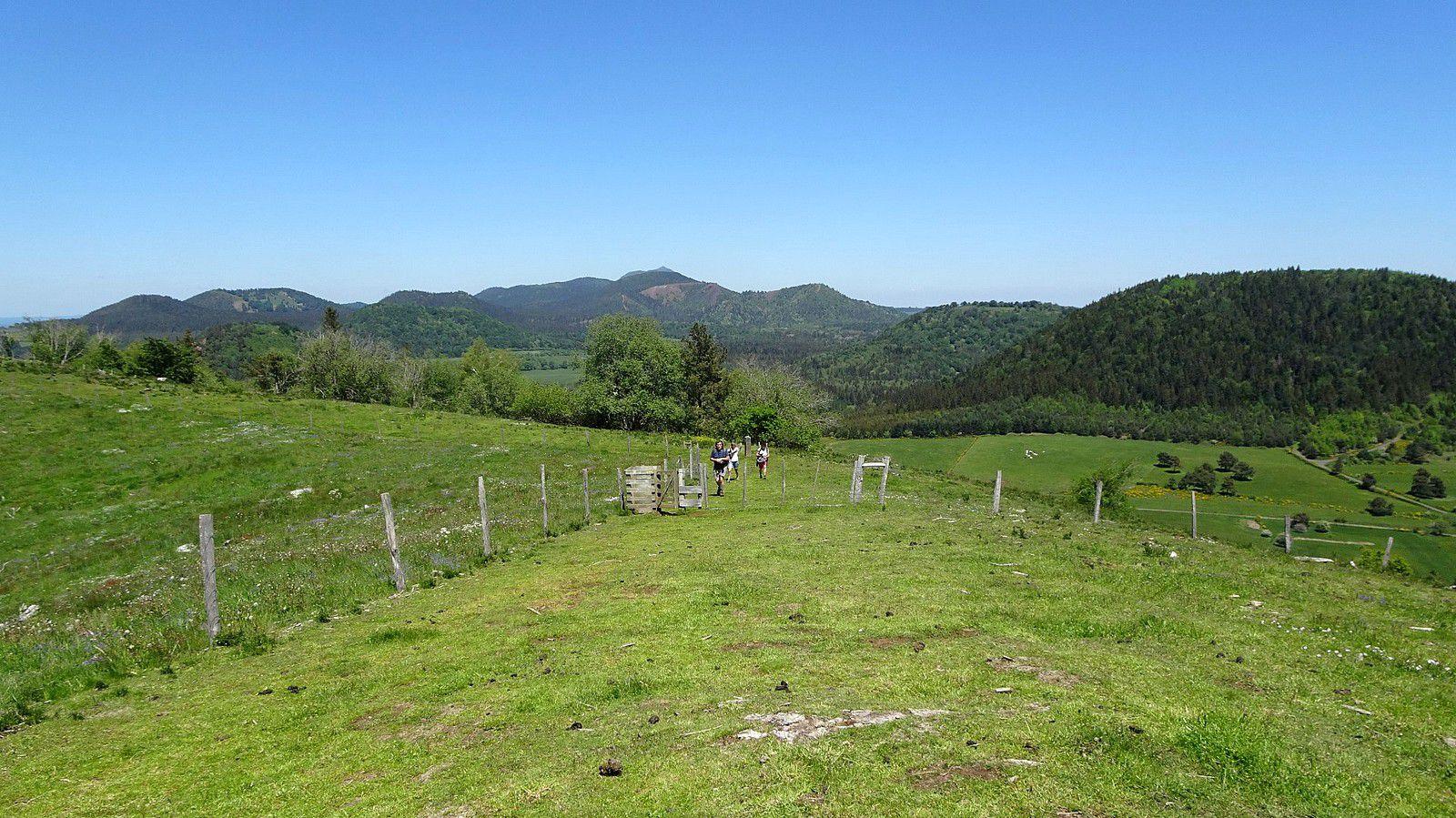 On admire les paysages d'Auvergne.
