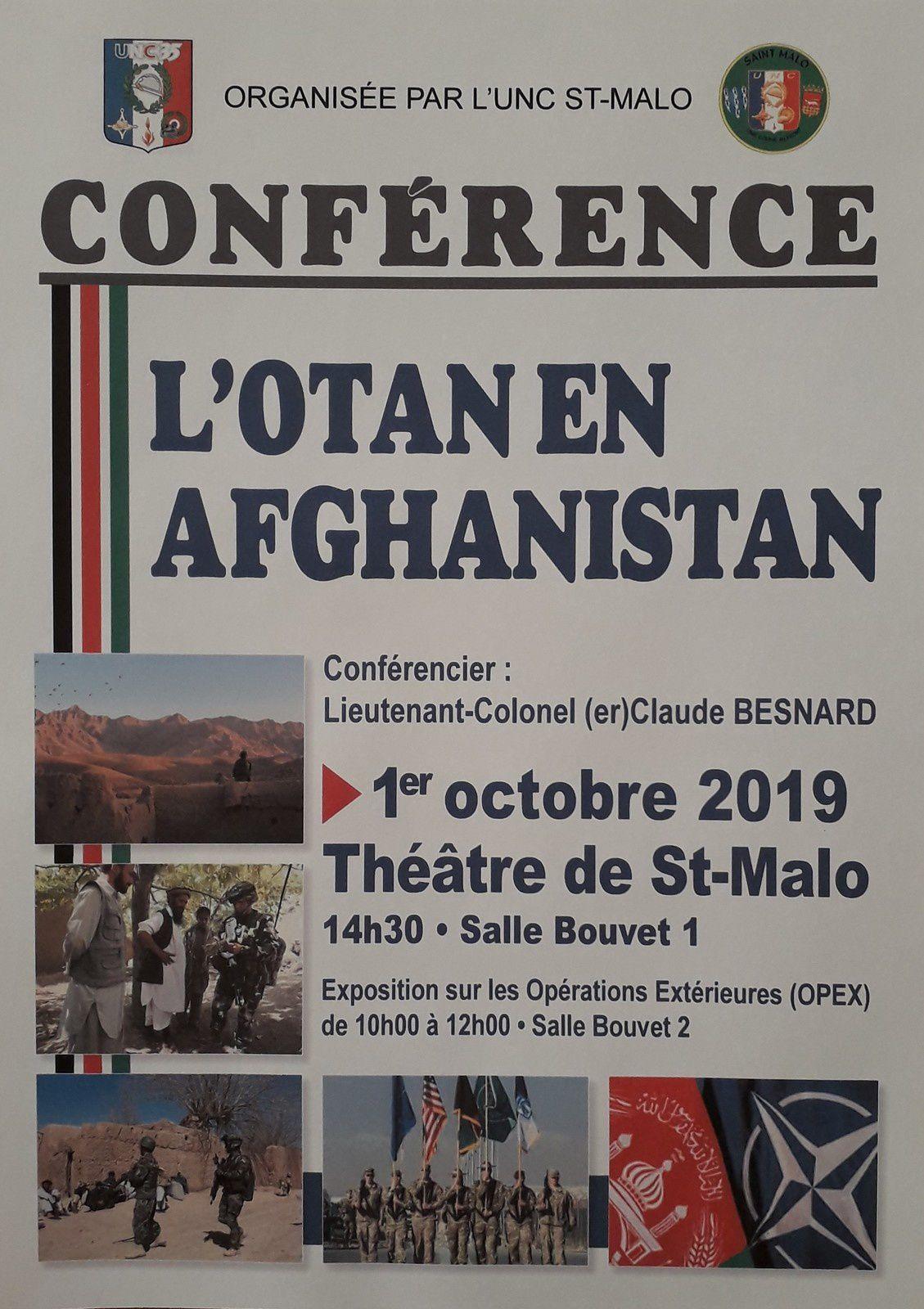 """1er Octobre à saint-Malo, Expo Opex et conférence """"L'OTAN en Afghanistan"""""""