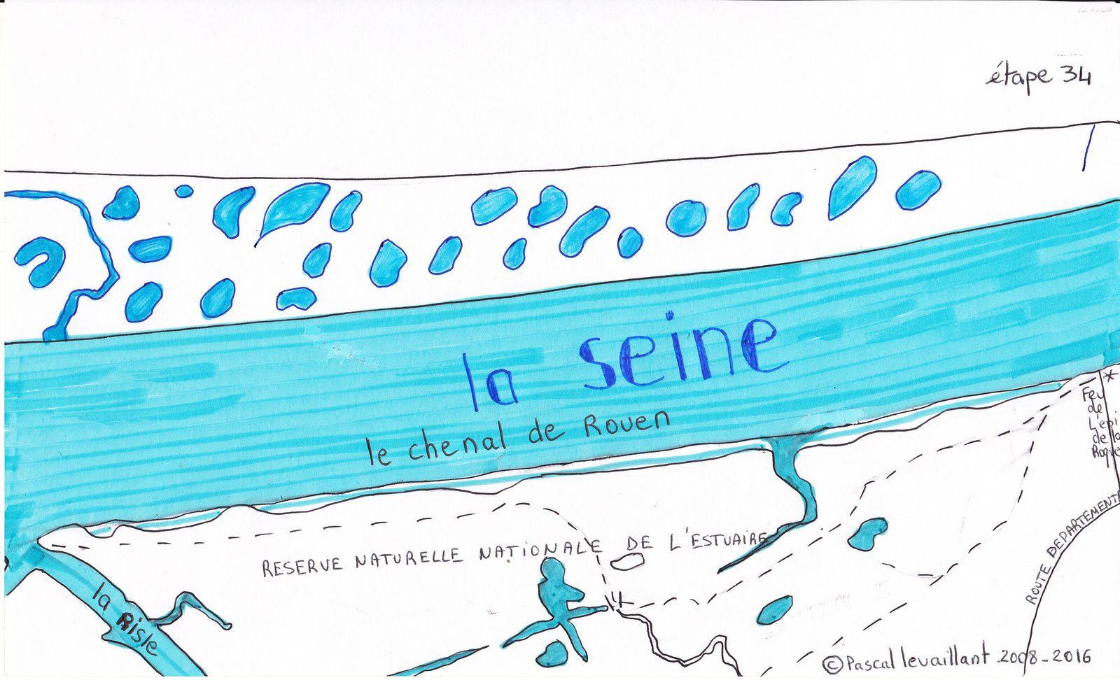 Le profil de l'étape dans la Réserve Naturelle Nationale de l'estuaire, rive gauche de la Seine