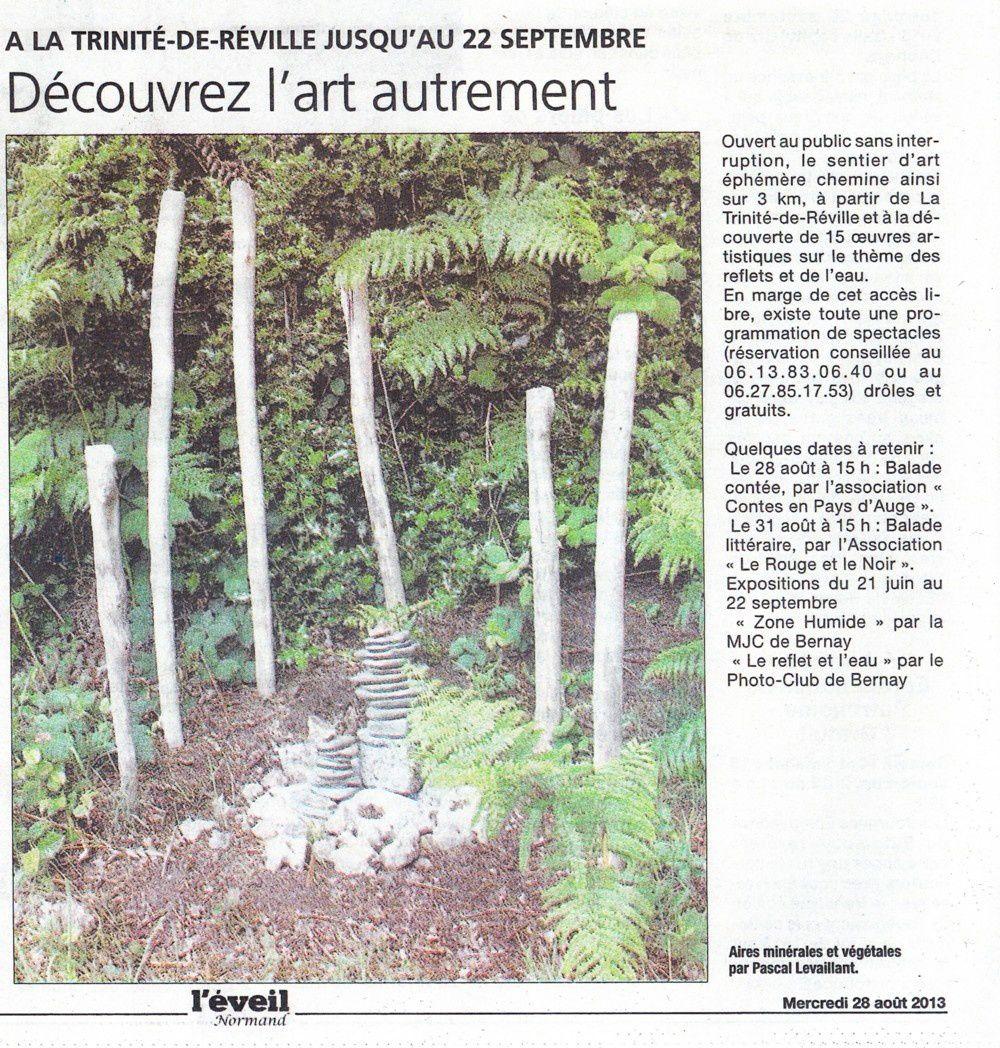 """""""installations"""" sentier d'art La Trinité Réville"""" 2013"""