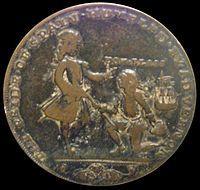 """Médaille célébrant la """"prise de Cartagena de Indias"""" par l'amiral Vernon..."""