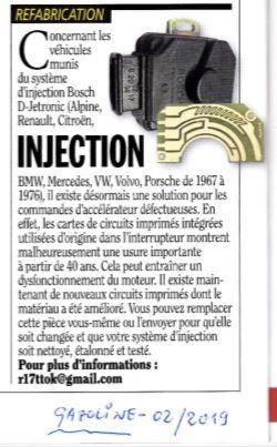 - Pour les injections