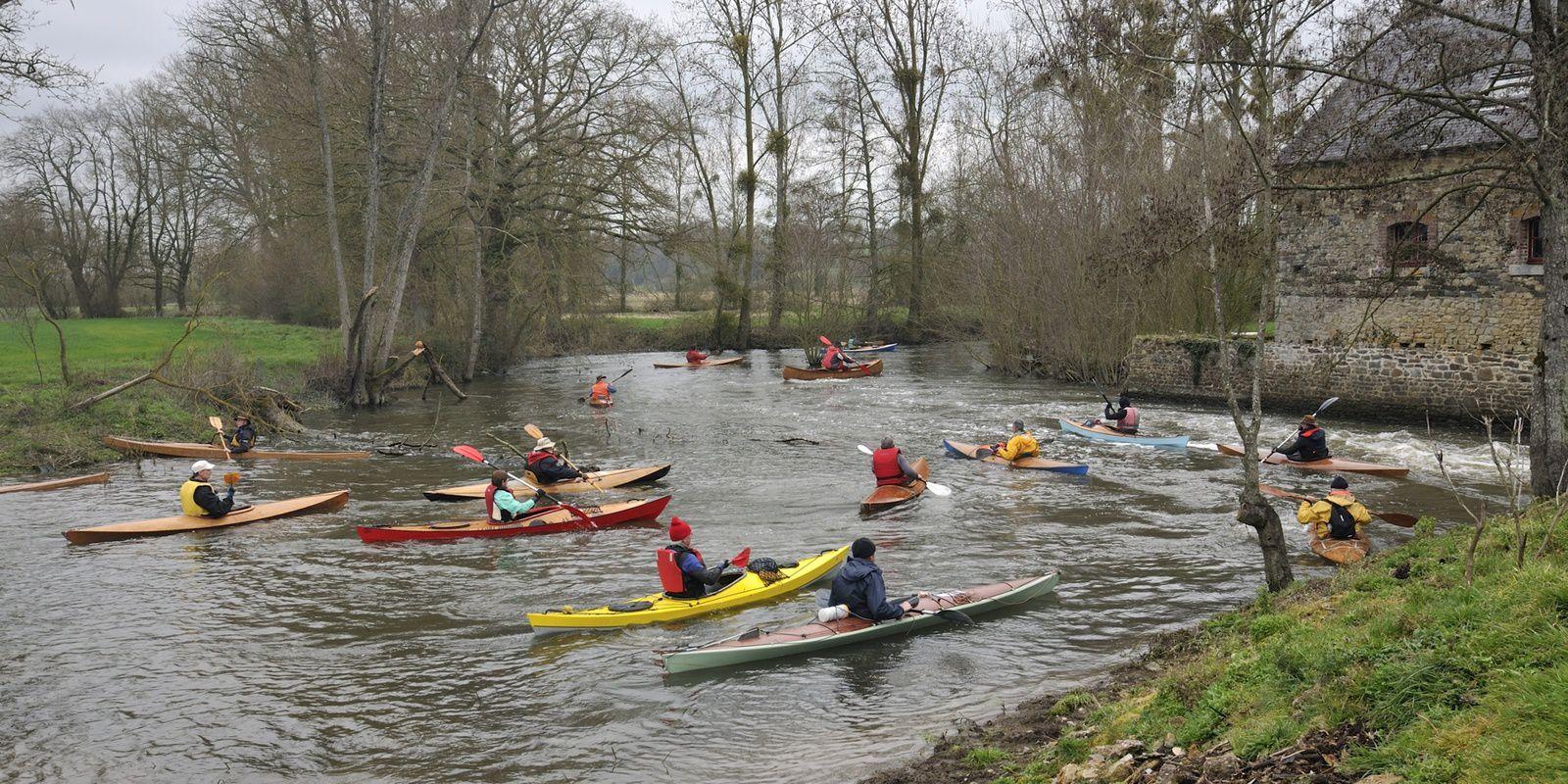 les Rats Toqués en kayak bois sur la Seiche les 24 et 25 mars