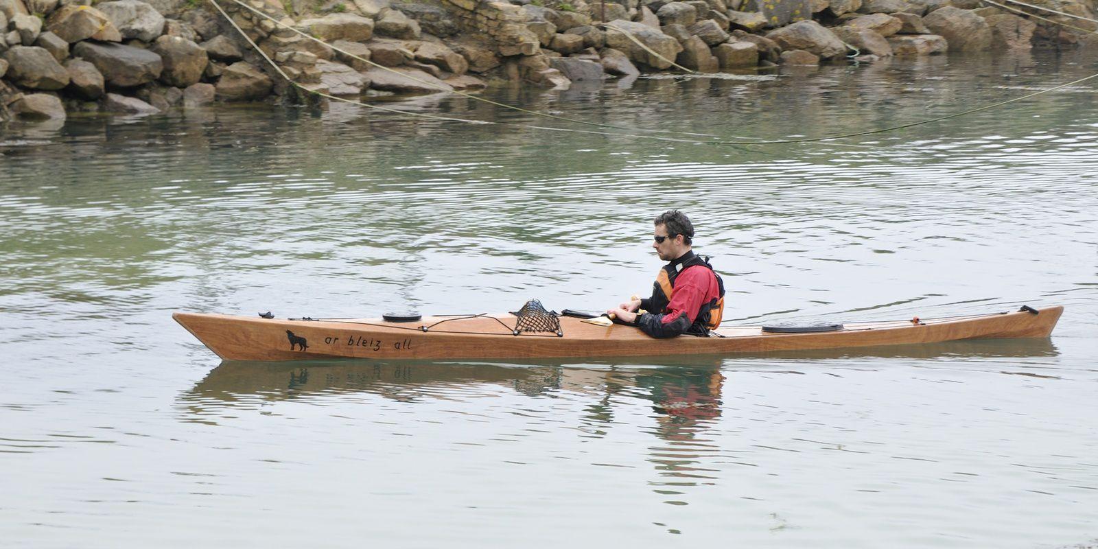 """essai du kayak Téo (5,20m -""""oh my boat"""") à Plouhinec, le 9 mars"""
