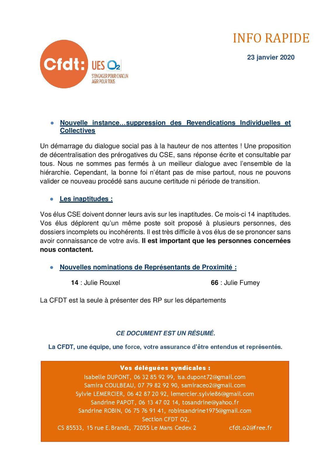 Réunion du Comité Social Economique 23/01/2020