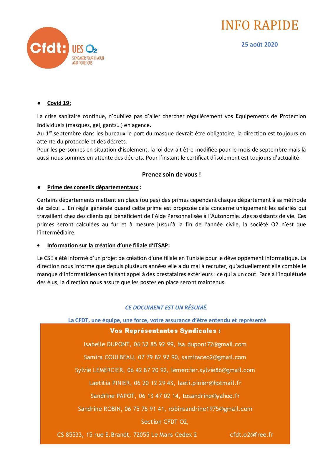 Réunion du Comité Social Economique 25/08/2020