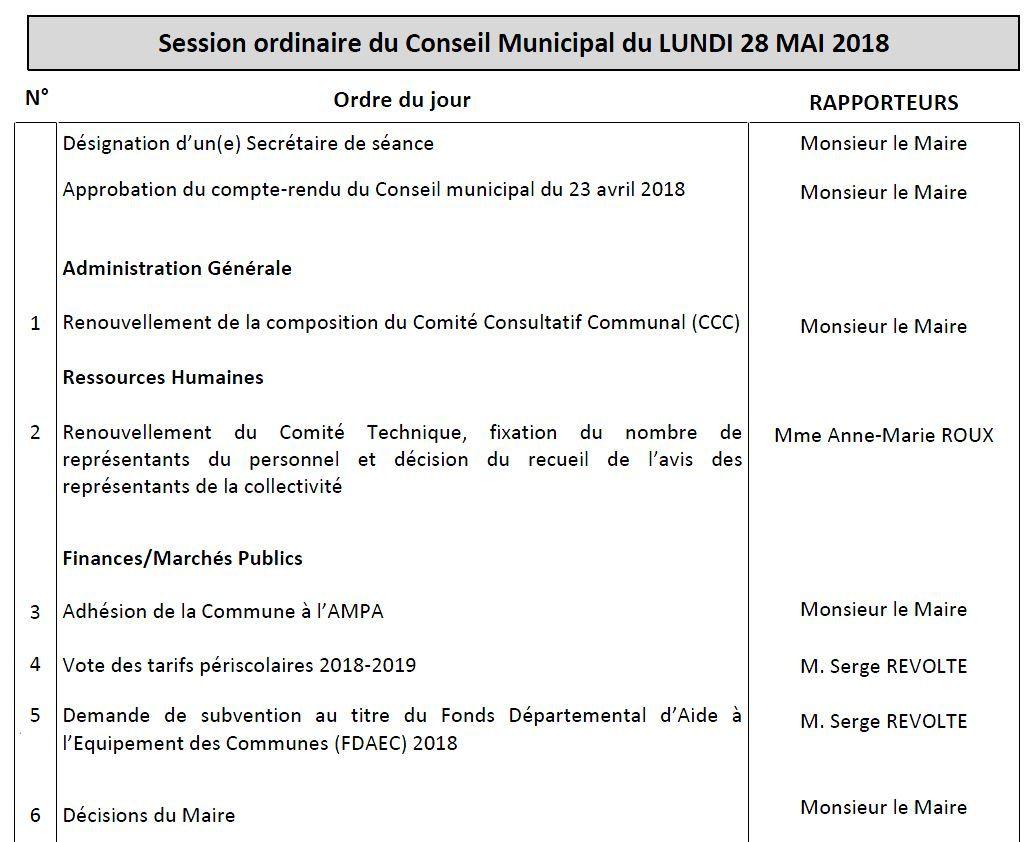 Conseil municipal le 28 mai 2018 à St Aubin de Médoc