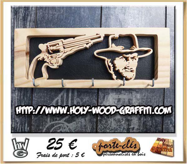 porte-clés mural Clint Eastwood ( thème western )