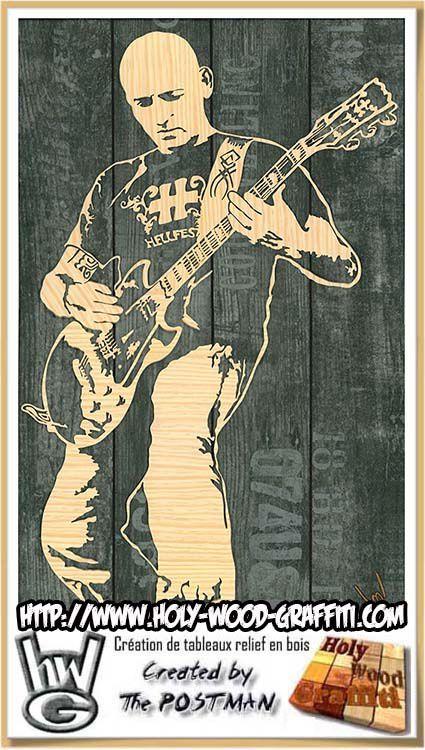 Tableau d'un guitariste - tableau artisanal - fait main - un cadeau original