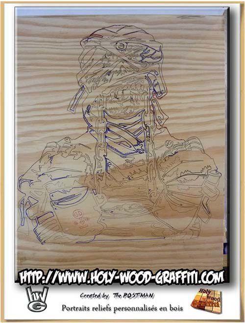 Dessin sur bois d'Eddie the 'Ead - Mascotte du groupe IRON MAIDEN