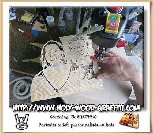 Découpe manuelle des portraits à l'aide de ma scie