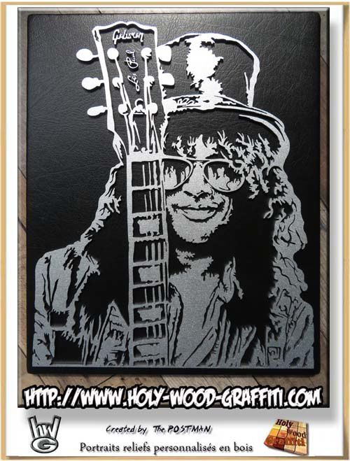 "Slash et sa guitare Gibson ""Les Paul"""