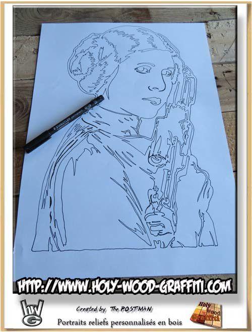 Dessin portrait de Princess Leia