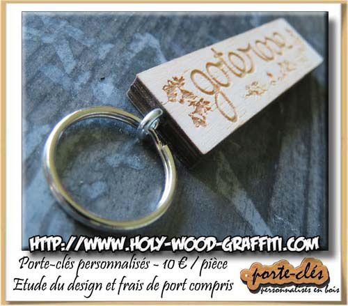 Porte-clés gravés dans du bois