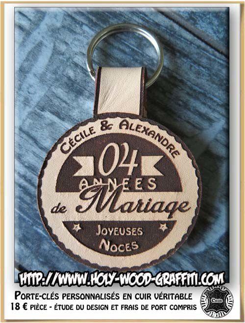 Face arrière du porte-clés avec les prénoms du couple