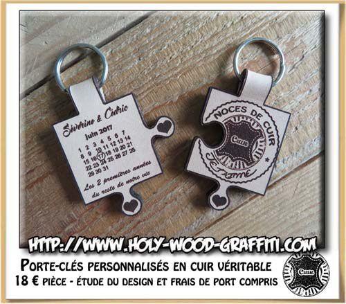 Séparation du puzzle, un porte-clés pour madame, un porte-clés pour monsieur