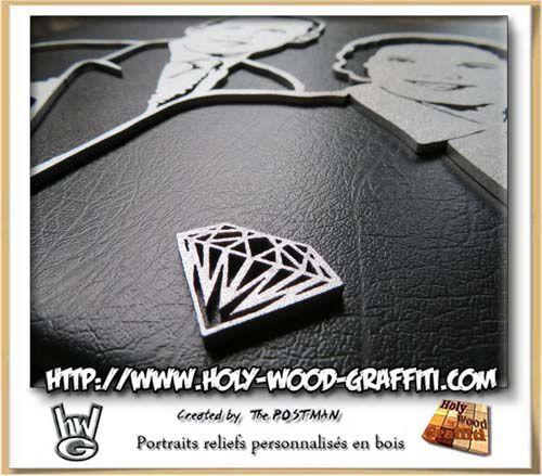 Découpe d'un diamant comme symbole pour ce tableau