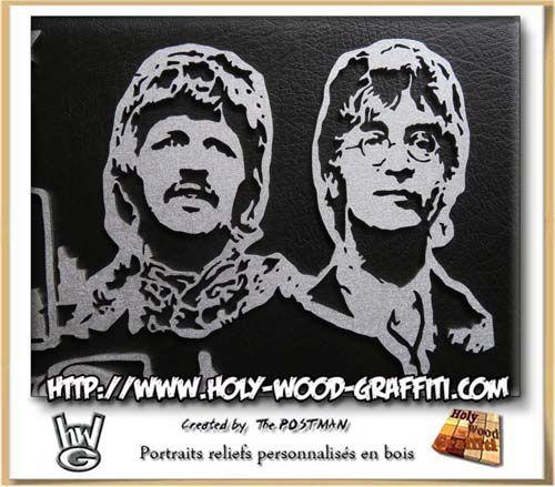 Portrait des Beatles Ringo Starr et John Lennon