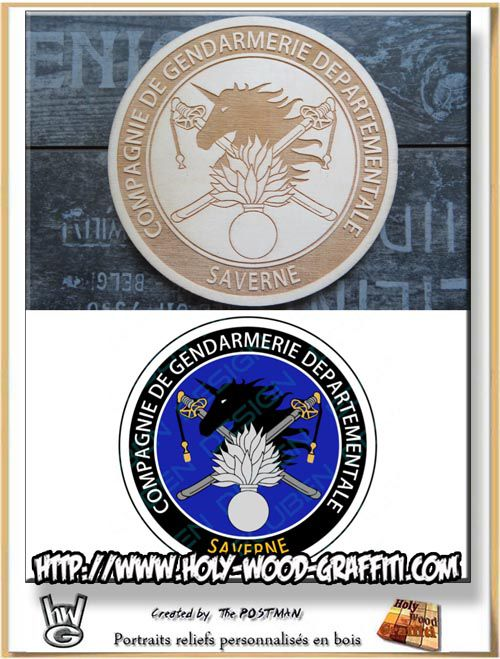 Logo de la gendarmerie départementale de Saverne avec le symbole de la ville : la licorne