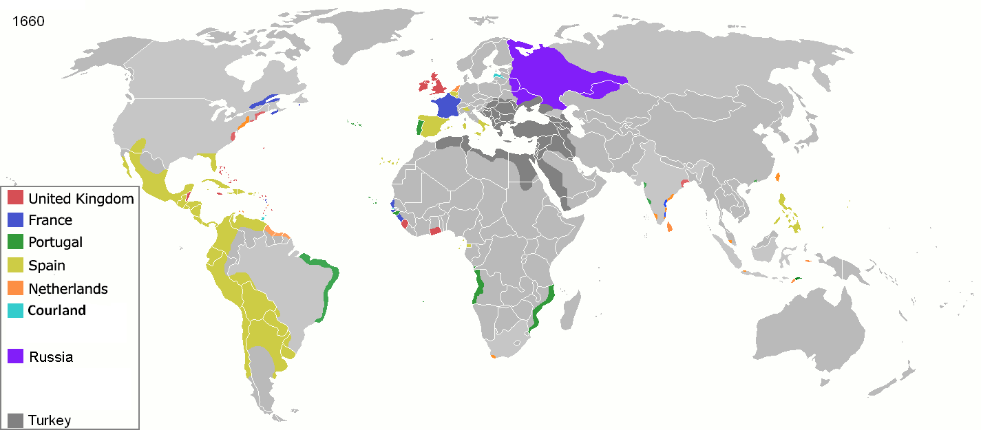 empires coloniaux en 1660 - Par Andrei nacu — public domain animated map by Andrei nacu here, Domaine public, https://commons.wikimedia.org/w/index.php?curid=1820671