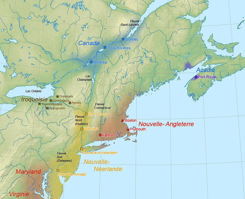 localisation des nations iroquoises - Par Carl Pruneau (User:Niptium) — Travail personnel avec l'aide de SémhurBackground map: File:New England and South-East of Canada topographic map-blank.svg, CC BY 3.0, https://commons.wikimedia.org/w/index.php?curid=7163272