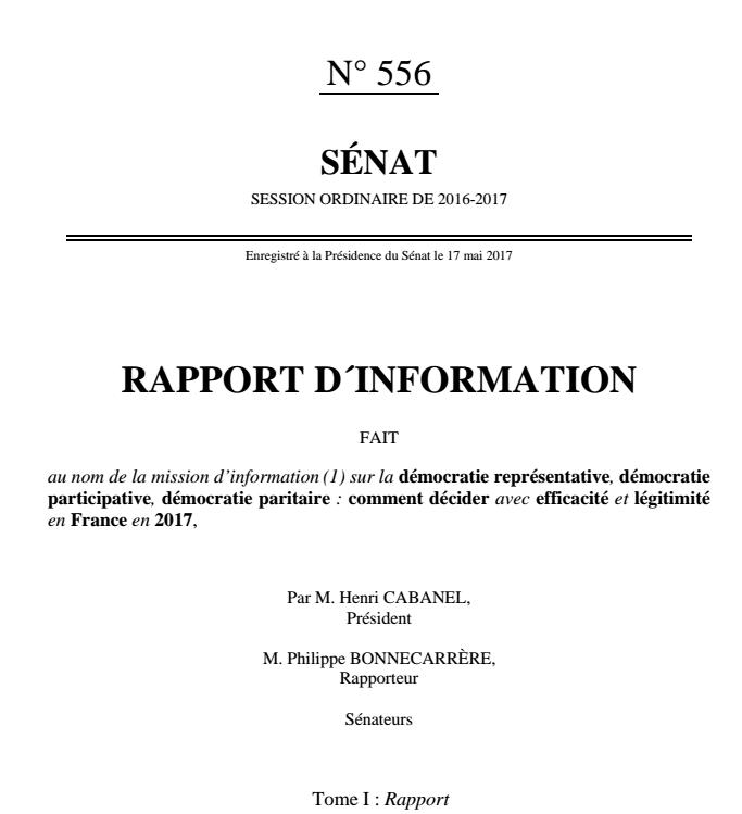 """Publication du rapport : Décider en 2017 - Le temps d'une démocratie """"coopérative"""""""
