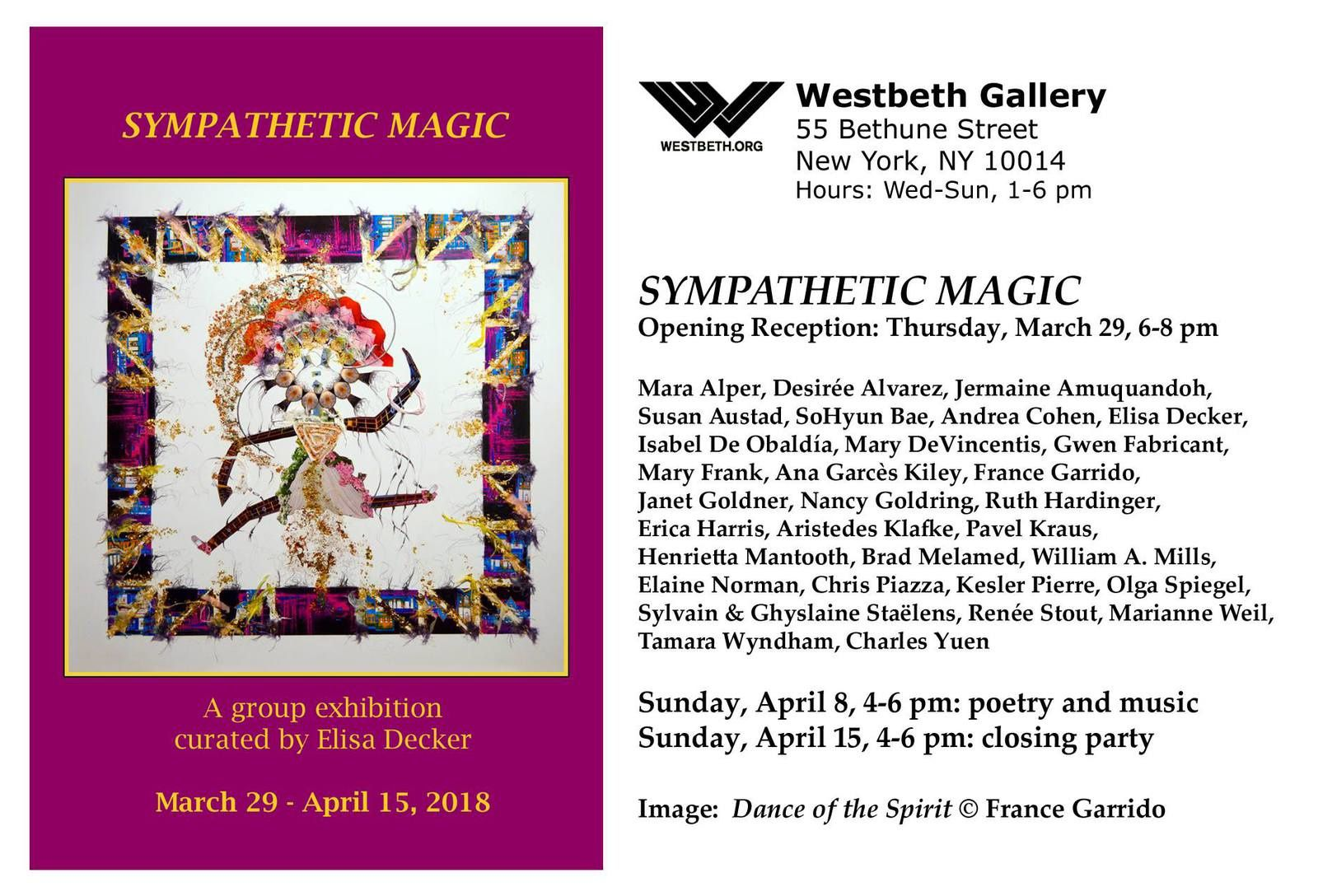 Exposition Sympathetic Magic / Galerie Westbeth / New York